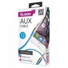 Аудиокабель Partner/Olmio AUX Jack-Jack 3.5mm плоский голубой