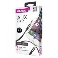 Аудиокабель Partner/Olmio AUX Jack-Jack 3.5mm плоский черный