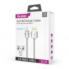 Кабель универсальный Partner/Olmio USB to microUSB/Lightning Magic 1m 2.1A серый