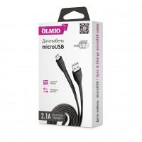 Кабель Partner/Olmio USB to microUSB 1m 2.1A плоский черный