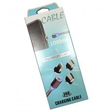 Кабель универсальный Magnetic M3 USB to microUSB/Lightning/Type-C ткань серый