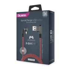 Кабель Partner/Olmio USB to Apple Lightning 1.2m 2.1A X-Game Neo ткань оранжевый