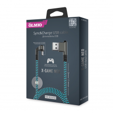 Кабель Partner/Olmio USB to microUSB 1.2m 2.1A X-Game Neo ткань голубой