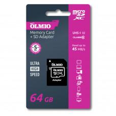 Карта памяти Partner/Olmio microSDXC 64Gb Class 10 UHS-I с адаптером