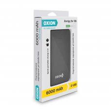 ЗУ Power Bank Oxion Ultra Thin 6000 mAh soft-touch черный
