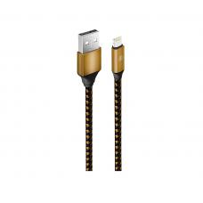 Кабель Oxion USB to Apple Lightning 1m QC 18W нейлоновый усиленный золотой