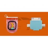 Адаптер Oxion microUSB на 3 выхода Lightning/30pin/miniUSB в зиплоке голубой