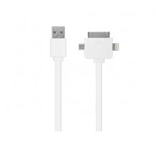 Кабель универсальный Oxion USB to Apple Lightning/30-pin/miniUSB 1m белый