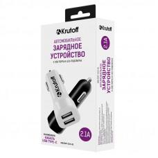 AЗУ Krutoff 2.1A двухпортовое + кабель Type-C