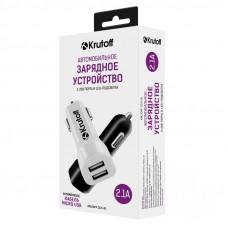 AЗУ Krutoff 2.1A двухпортовое + кабель micro USB