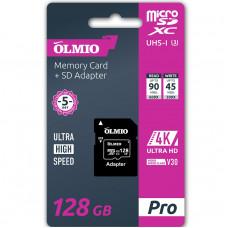 Карта памяти Partner/Olmio microSDXС 128Gb Pro UHS-I U3 V30 с адаптером