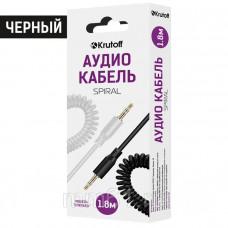 Аудиокабель Krutoff AUX Jack-Jack 3.5mm Spiral 1m витой черный