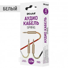 Аудиокабель Krutoff AUX Jack-Jack 3.5mm Spring 1m пружинный белый