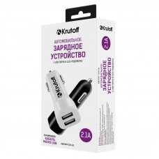 AЗУ Krutoff CCH-01M 2.1A двухпортовое черное + кабель micro USB