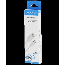 Кабель Maxvi USB to microUSB 1m 2А белый