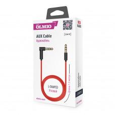Аудиокабель Partner/Olmio AUX Jack-Jack 3.5mm L-образный черно-красный