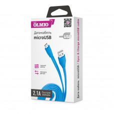 Кабель Partner/Olmio USB to microUSB 1m 2.1A плоский голубой