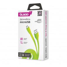 Кабель Partner/Olmio USB to microUSB 1m 2.1A плоский зеленый