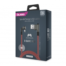 Кабель игровой Partner/Olmio USB to Apple Lightning 1.2m 2.1A X-Game Neo ткань оранжевый