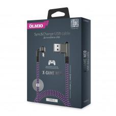 Кабель Partner/Olmio USB to Type-C 1.2m 2.1A X-Game Neo ткань фиолетовый