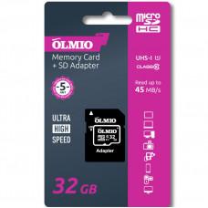 Карта памяти Partner/Olmio microSDHС 32Gb Class 10 UHS-I с адаптером