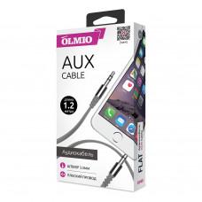 Аудиокабель Partner/Olmio AUX Jack-Jack 3.5mm плоский серый