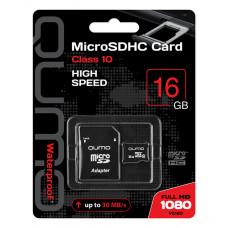 Карта памяти Qumo microSDHС 16Gb Class 10 с адаптером QM16GMICSDHC10
