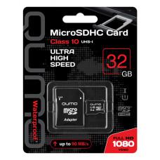 Карта памяти Qumo microSDHС 32Gb Class 10 UHS-I с адаптером QM32GMICSDHC10U1