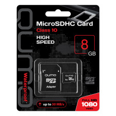 Карта памяти Qumo microSDHC 8Gb Class 10 с адаптером QM8GMICSDHC10