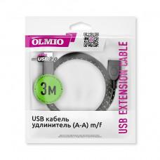 Кабель Partner/Olmio USB-A to USB-A удлинительный 3.0m ткань черный