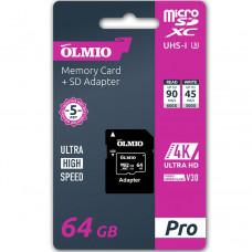 Карта памяти Partner/Olmio microSDXC 64Gb Pro UHS-I U3 V30 с адаптером