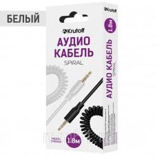 Аудиокабель Krutoff AUX Jack-Jack 3.5mm Spiral 1m витой белый