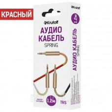 Аудиокабель Krutoff AUX Jack-Jack 3.5mm Spring 1m пружинный красный