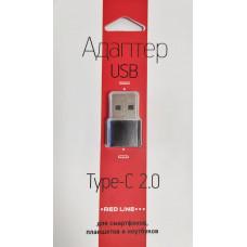 Адаптер-переходник Red Line USB to Type-C черный