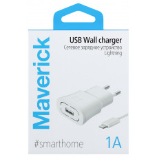 СЗУ Maverick 1A + кабель Apple Lightning белое