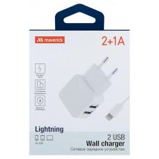 СЗУ Maverick 2+1A двухпортовое + кабель Apple Lightning белое