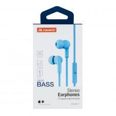 Наушники-гарнитура Maverick Deep Bass i7 голубые