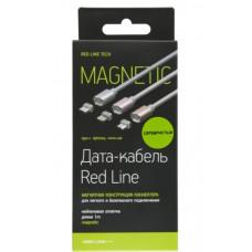 Кабель магнитный Red Line USB to Apple Lightning 1m серый