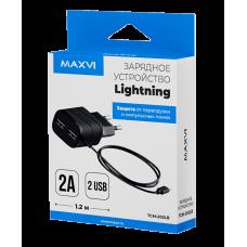 СЗУ Maxvi TCM-202LB 2A для Apple Lightning черное + 2 свободных порта