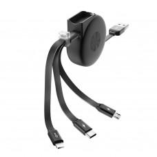 Кабель универсальный Partner/Olmio SLIDE USB to microUSB/Lightning/Type-C 1m 2.1A раздвижной черный