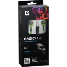 Наушники Defender Basic 604 внутриканальные черно-зеленые