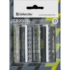 Батарейка алкалиновая Defender LR20 D (цена за 2 шт., блистер)