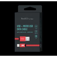 Кабель Borasco USB to microUSB 1m 3A плоский нейлоновый красный