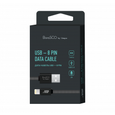 Кабель Borasco USB to Apple Lightning 1m 3A плоский нейлоновый черный