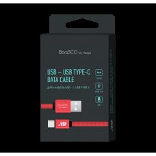 Кабель Borasco USB to Type-C 1m 3A плоский нейлоновый красный