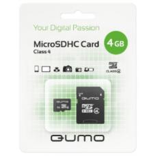Карта памяти Qumo microSDHC 4Gb Class 4 с адаптером QM4GMICSDHC4