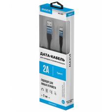 Кабель Maxvi USB to Type-C 1m 2А усиленный синий