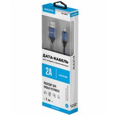 Кабель Maxvi USB to microUSB 1m 2А нейлоновый синий