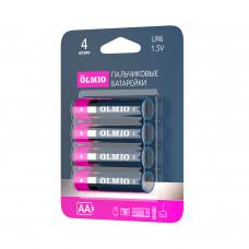 Батарейка щелочная Olmio LR06 AA (цена за 4 шт., блистер)