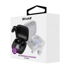 Bluetooth-наушники Krutoff TWS Q-02 сенсорные, с индикацией задяра, внутриканальные белые